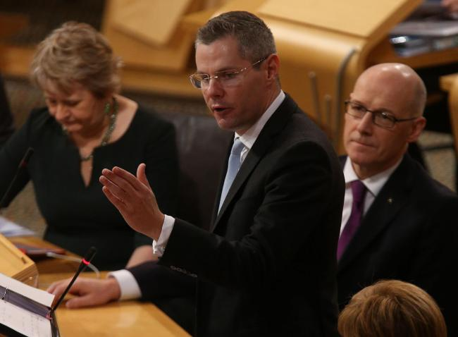 Derek Mackay delivers his first budget. Pic Gordon Terris/The Herald.15/12/16.