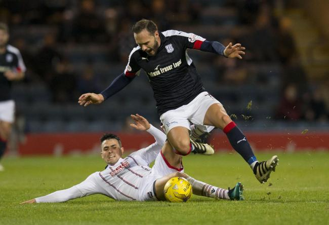 Tom Hateley in action for Dundee