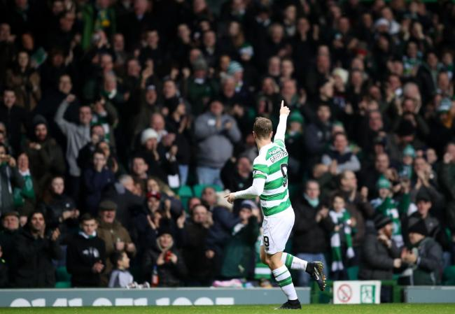 Celtic's Leigh Griffiths celebrates his goal against Dundee