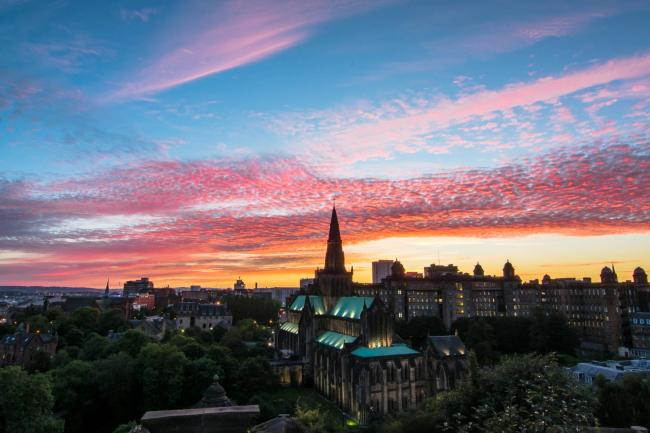Anne Flaherty took this beautiful sunset picture overlooking Glasgow Cathedral as seen from The Necropolis....