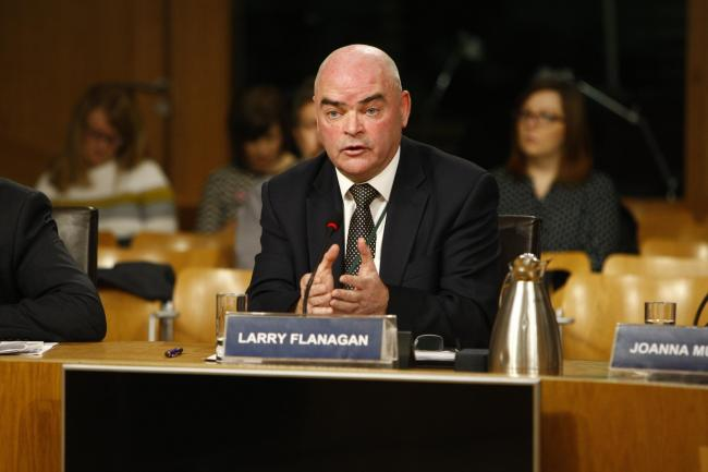 Larry Flanagan, general secretary of the Educational Institute of Scotland, appears before Holyrood's education committee