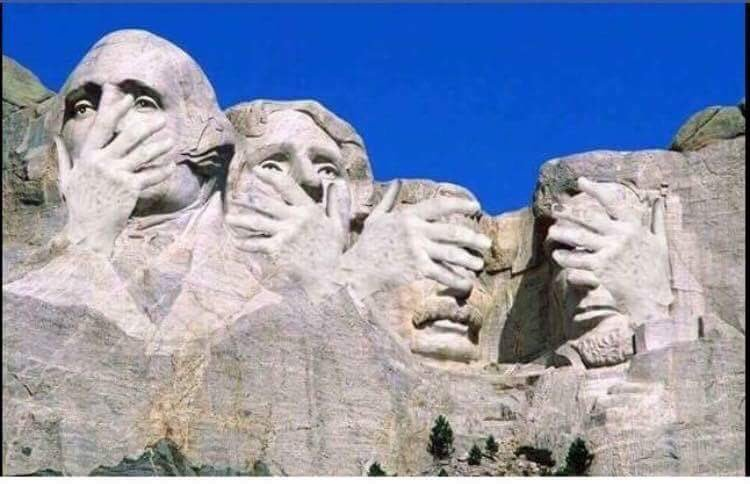 Mount Rushmore reacts to the Trump inauguration.