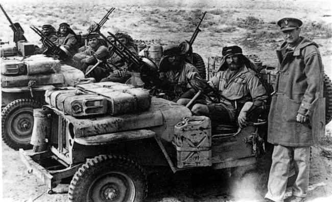 SAS - 'The Originals - The Secret History of the Birth of the SAS' by Gordon Stevens, Ebury Press. OPS: David Stirling and SAS jeeps, ready for action in the desert during WW2.  Photo: SAS Regimental Association