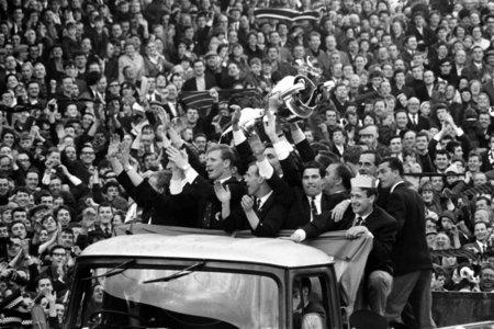 HeraldScotland: 26/05/67.CELTIC PARK - GLASGOW.Goalkeeper Ronnie Simpson (second from right rear) and the rest of the Lisbon Lions parade the European Cup at Parkhead after Celtic's famous victory over Inter Milan..