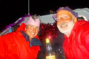 Martin Cruikshank and sister Fenella McAlister on Christmas Day  during their transatlantic voyage..Pic Fenella McAlister..