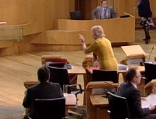 Roseanna Cunningham gesticulates after Holyrood suspended because of Westminster terror attack