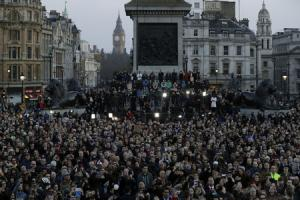 Dignified defiance: thousands turned out in Trafalgar square to show solidarity with victims against the terror threat