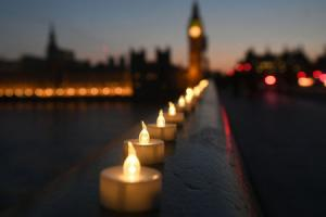 Candle lights on Westminster Bridge, London