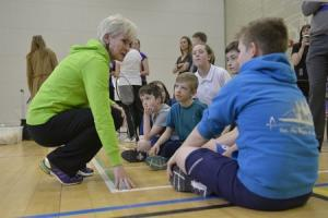 Judy Murray doing what she does best, trying to engage youngsters in sport at badminton's 'Big Hit Festival' at Stirling in midweek (pic courtesy of Lorraine Hill)