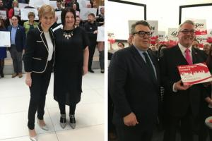 First Minister Nicola Sturgeon and Glasgow SNP group leader Susan Aitken (left) and Labour party deputy leader Tom Watson and Glasgow City Council leader Frank McAveety (right) (Credit: PA Wire)
