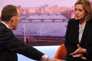 For use in UK, Ireland or Benelux countries only EDITORIAL USE ONLYHandout photo issued by the BBC of Andrew Marr and Home Secretary Amber Rudd appearing on the BBC One current affairs programme, The Andrew Marr Show. PRESS ASSOCIATION Photo. Picture date