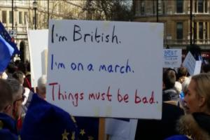 Foster Evans passes on a banner from the large pro-Europe demonstration in London at the weekend