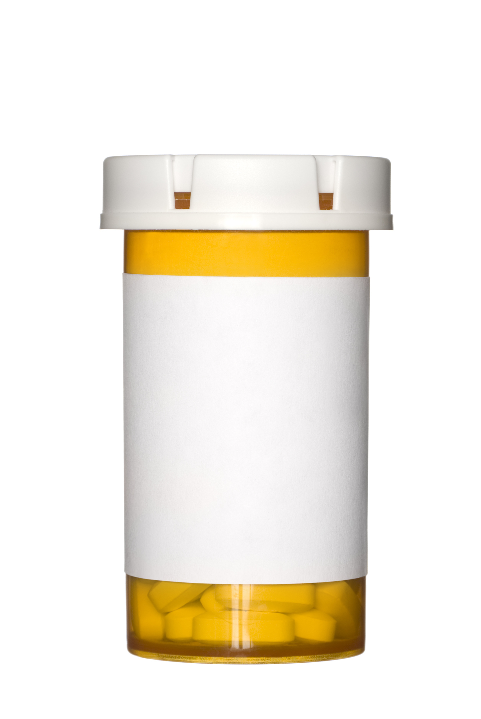A medical pill bottle with a blank label for copy space and the bottle is isolated on a white background.