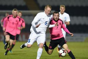 Scotland's Paul McMullan (right) holds off Estonia's Michael Lilander.