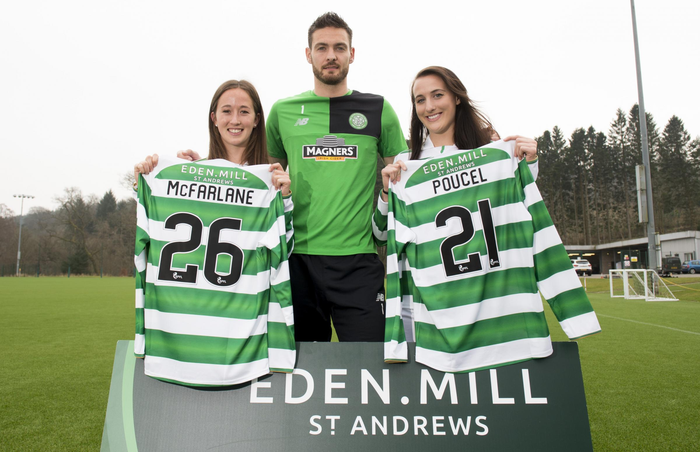 Deal me in: Celtic's Craig Gordon joins womens' players Darcy McFarlane and Jaclyn Poucel as the club welcome new sponsor Eden Mill (Picture: SNS)