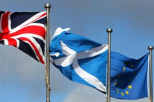 The Union flag, the Saltire and EU flags fly at the Scottish Parliament, but the UK's association with the European Union is now in the process of termination. Picture: Gordon Terris