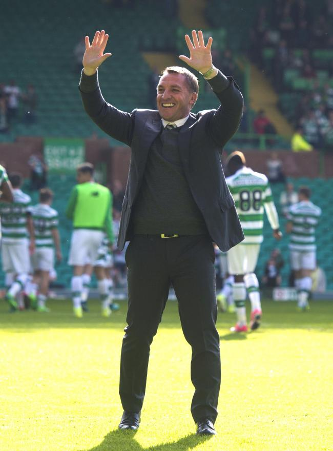Celtic manager Brendan Rodgers celebrates at full time. Picture: SNS