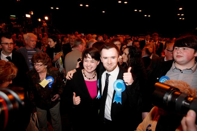 BACK IN THE RUNNING: Conservative David Meikle, pictured celebrating his success in the 2012 Glasgow local elections with leader Ruth Davidson, when he won Pollokshields ward.