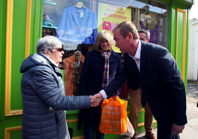 LibDem leader Tim Farron meets voters in Stockbridge in Edinburgh during a visit with MSP Alex Cole-Hamilton and council election candidate Hal Osler