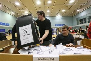 DEOMCRACY IN ACTION: Ballot boxes being emptied for the East Dunbartonshire constituency count in the General Election of 2015. Picture: Colin Mearns
