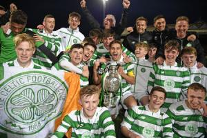 Celtic's under-17 players celebrating winning the Glasgow Cup final against Rangers last week.