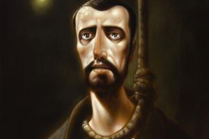 St John Ogilvie, in a painting by Peter Howson, was hanged at Glasgow Cross in the Reformation era
