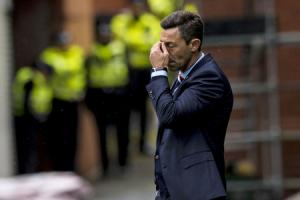 Rangers manager Pedro Caixinha is left dejected   Photograph: SNS