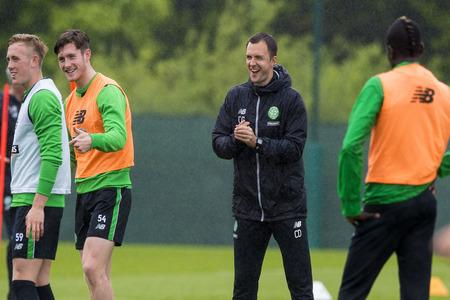 HeraldScotland: Celtic assistant manager Chris Davies takes training at Lennoxtown.