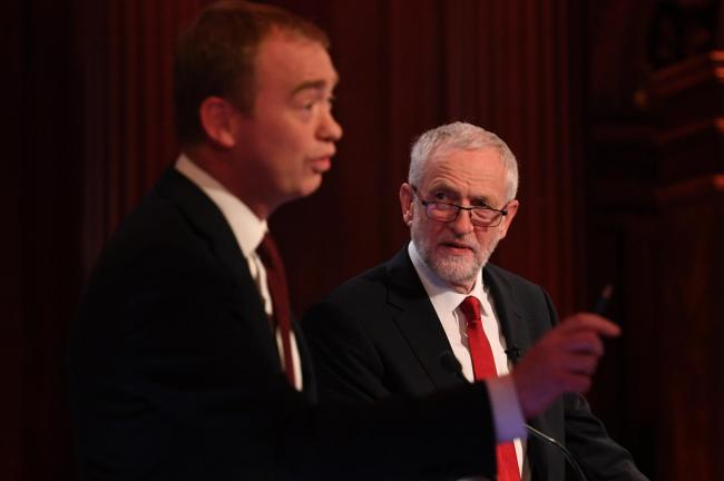 Liberal Democrat leader Tim Farron and Labour leader Jeremy Corbyn take part in the BBC Election Debate hosted by Mishal Husain (Photo by Stefan Rousseau - WPA Pool /Getty Images).