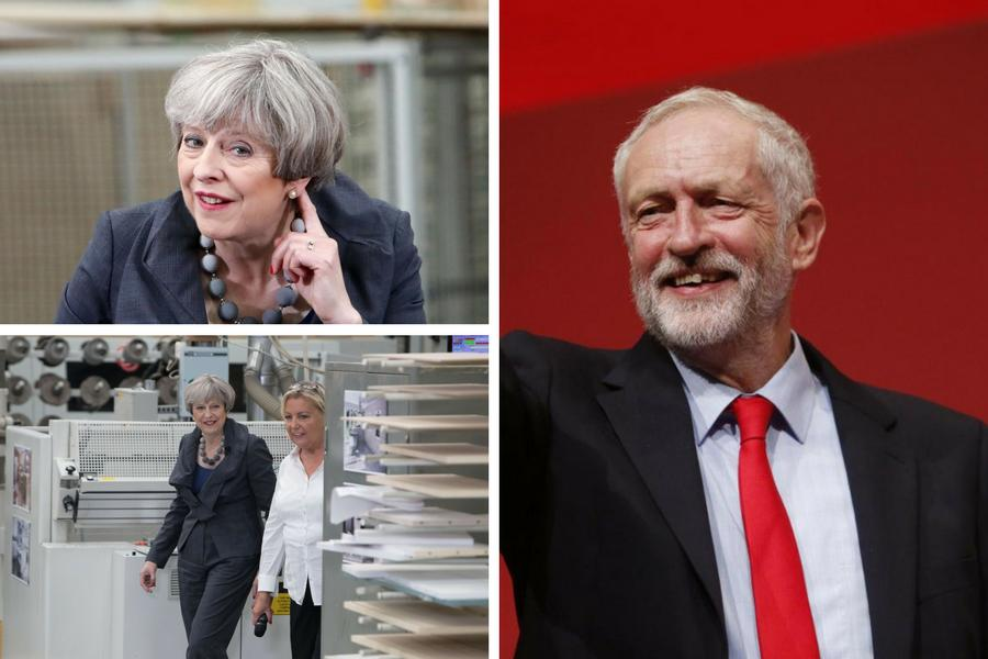Image result for PHOTOS OF THERESA MAYS AND JEREMY CORBYN