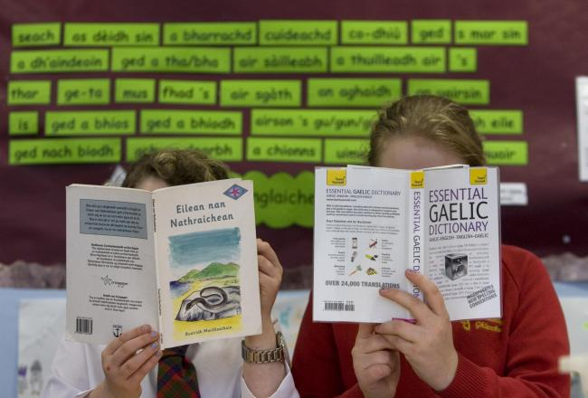 Glasgow Gaelic School pupils reading in class