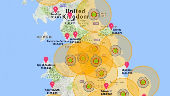 Map Of Uk Nuclear Bunkers.Estate Agent Creates Uk Map Showing Best Places To Avoid Nuclear
