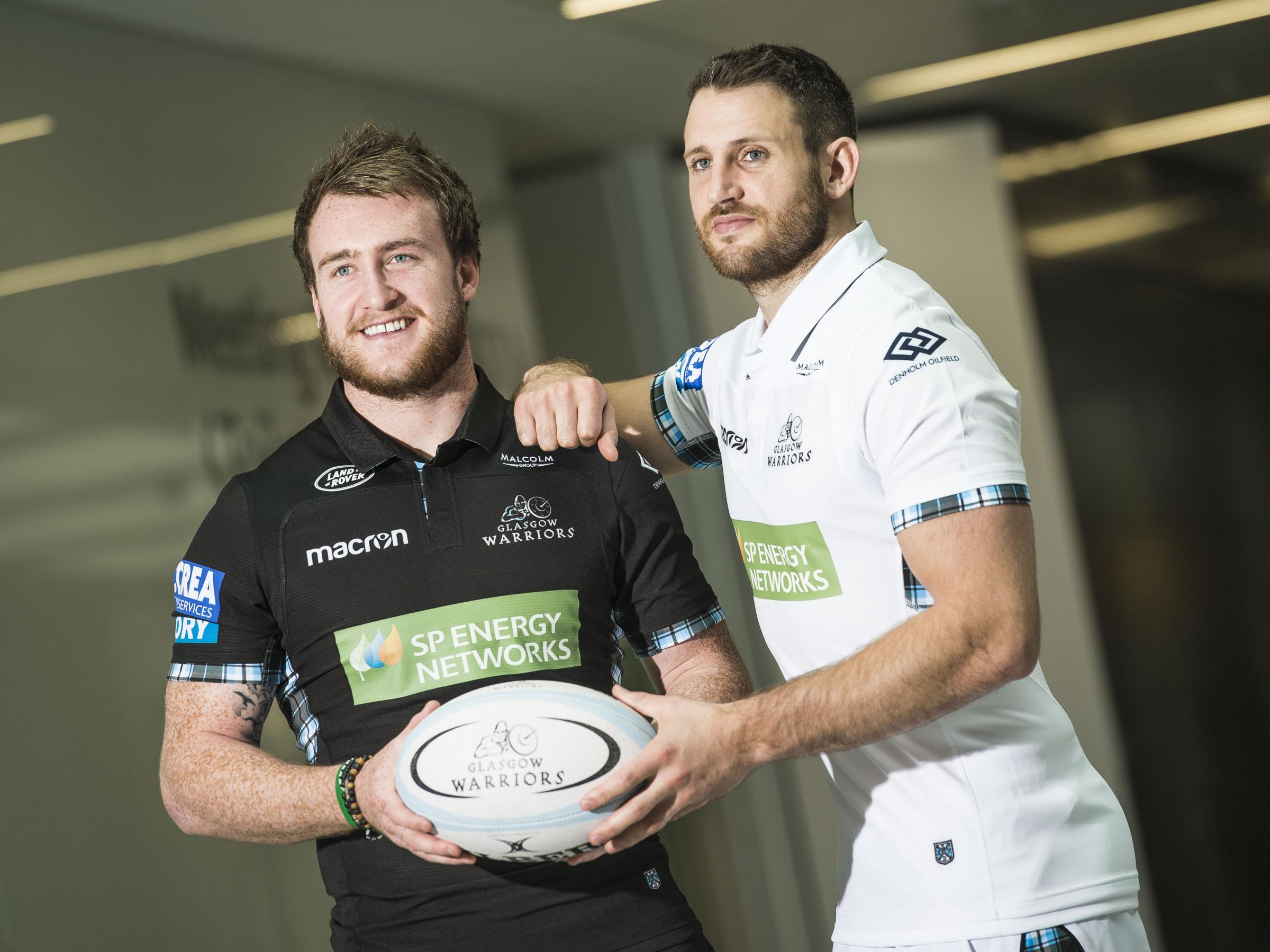 Stuart Hogg and Tommy Seymour help promote Glasgow Warriors' new sponsorship deal. Picture: SNS