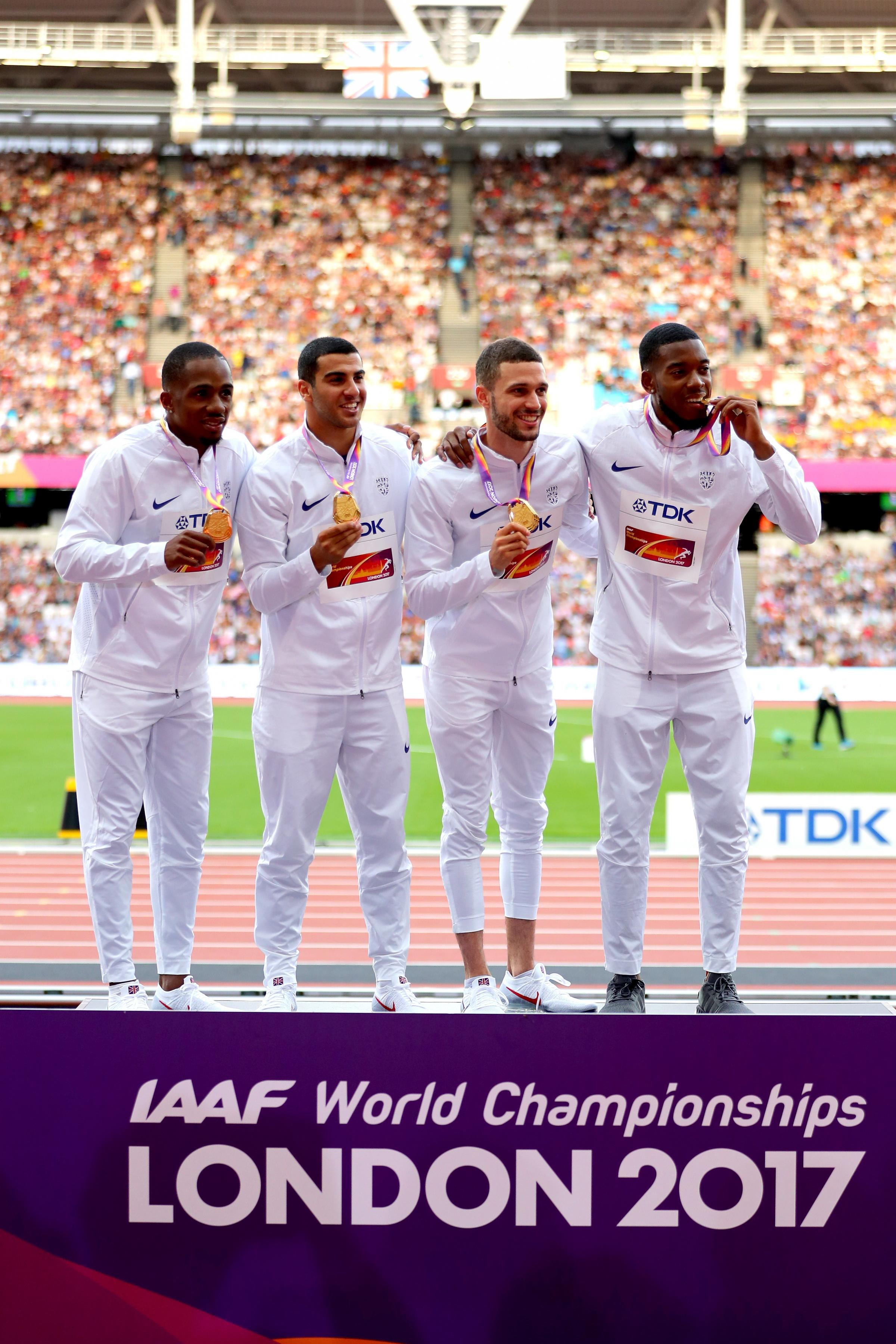 LONDON, ENGLAND - AUGUST 13:  (L-R)  Chijindu Ujah, Adam Gemili, Daniel Talbot and Nethaneel Mitchell-Blake of Great Britain, gold, pose with their medals for the Men's 4x100 Metres Relay during day ten of the 16th IAAF World Athletics Championships L
