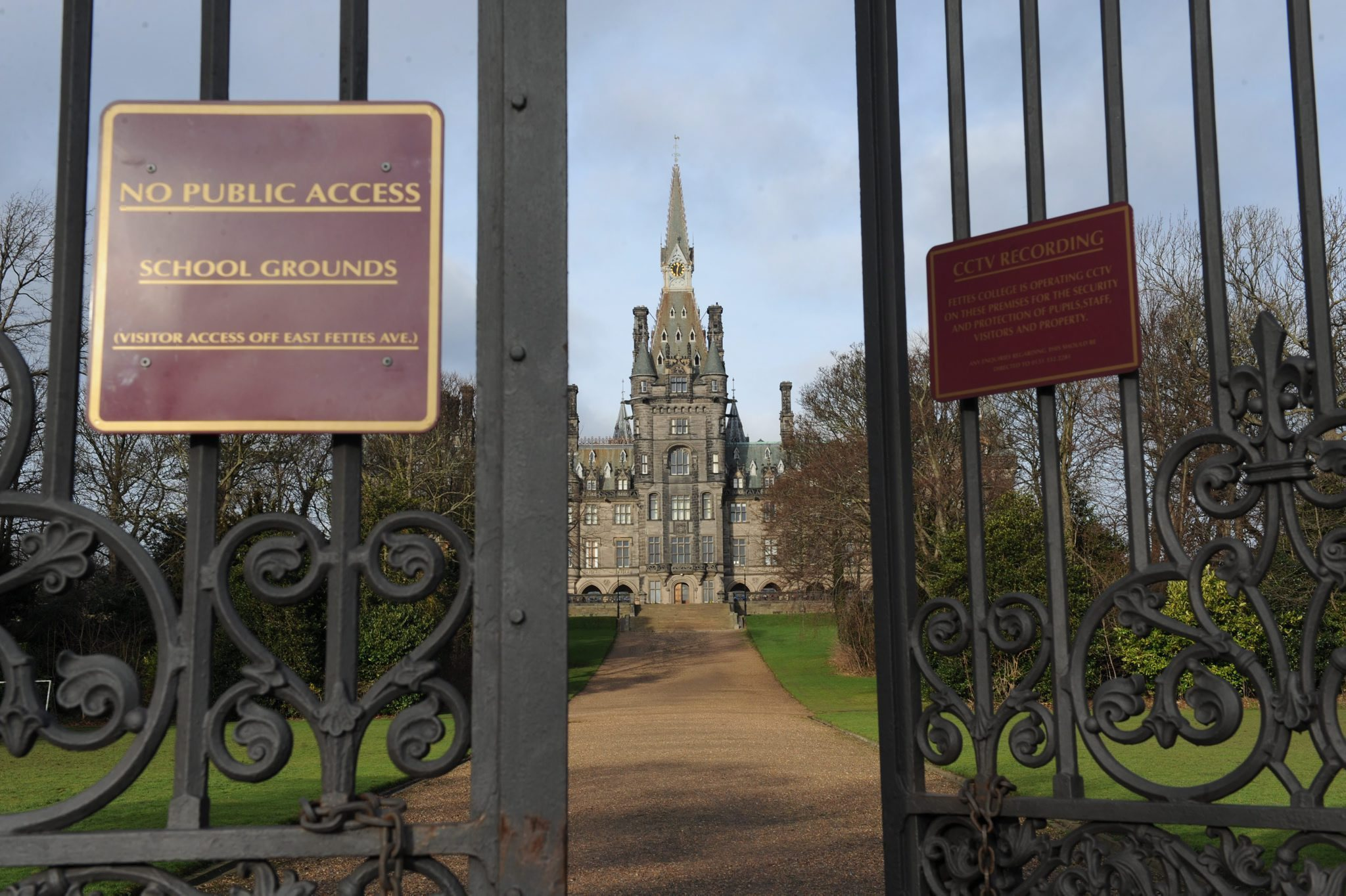 The gothic spires of Fettes College dominate the skyline across the upmarket Stockbridge area of Edinburgh