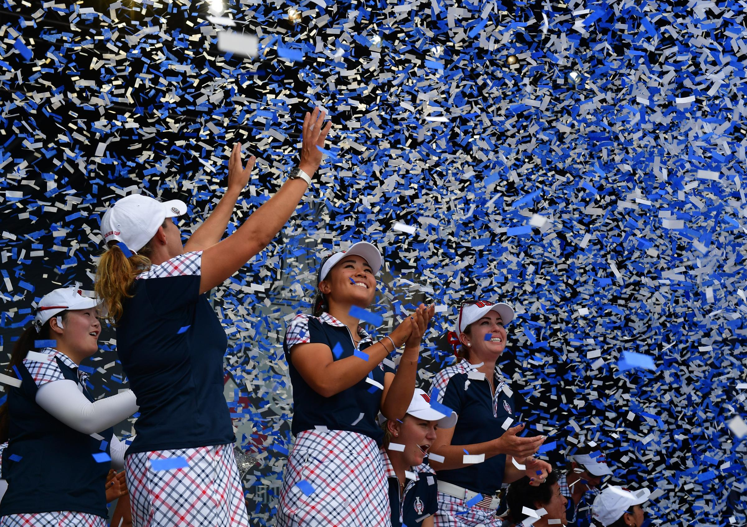 Cristie Kerr,Danielle Kang and Paula Creamerof Team USA celebrate during the closing ceremony