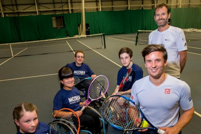 Gordon Reid makes a surprise visit to Scotstoun Wheelchair Tennis Club Picture: Craig Watson