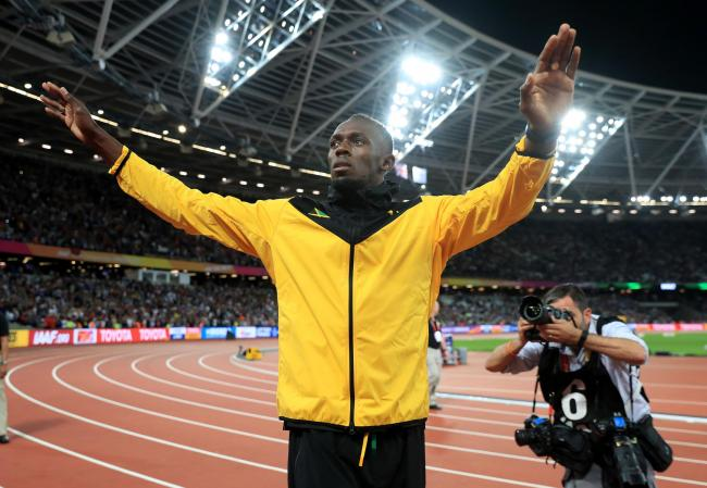 Jamaica's Usain Bolt on his lap of honour during day ten of the 2017 IAAF World Championships at the London Stadium. PRESS ASSOCIATION Photo. Picture date: Sunday August 13, 2017. See PA story ATHLETICS World. Photo credit should read: Adam Davy/PA Wi