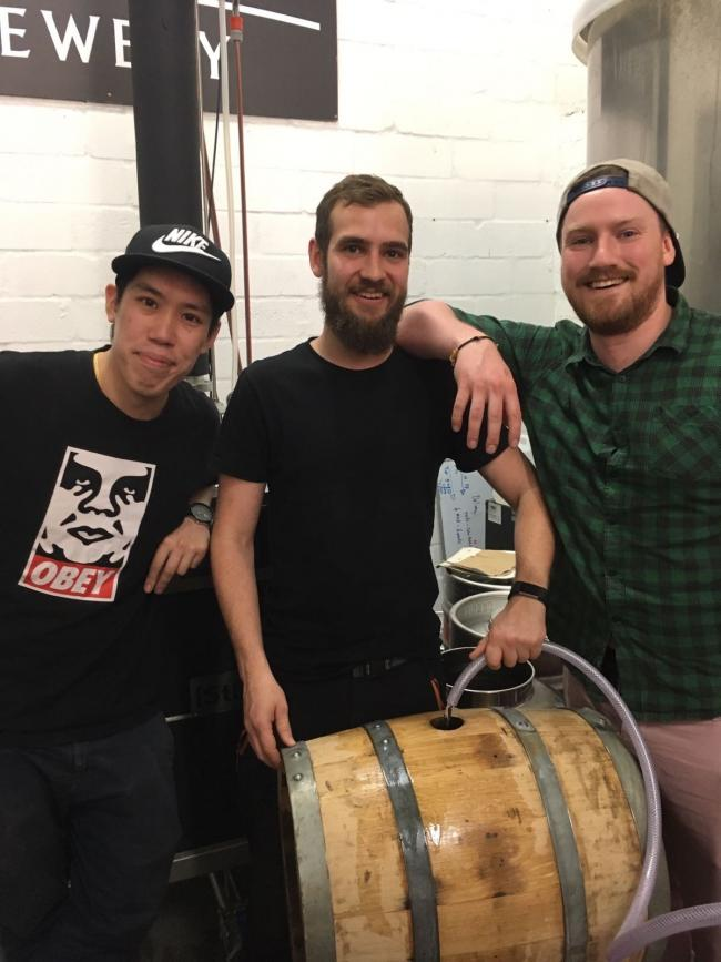 Twin River brand ambassador Ricky Chan, distiller Andrew Tulloch and brand ambassador Ryan Rhodes filling the first cask of Twin River Whisky.