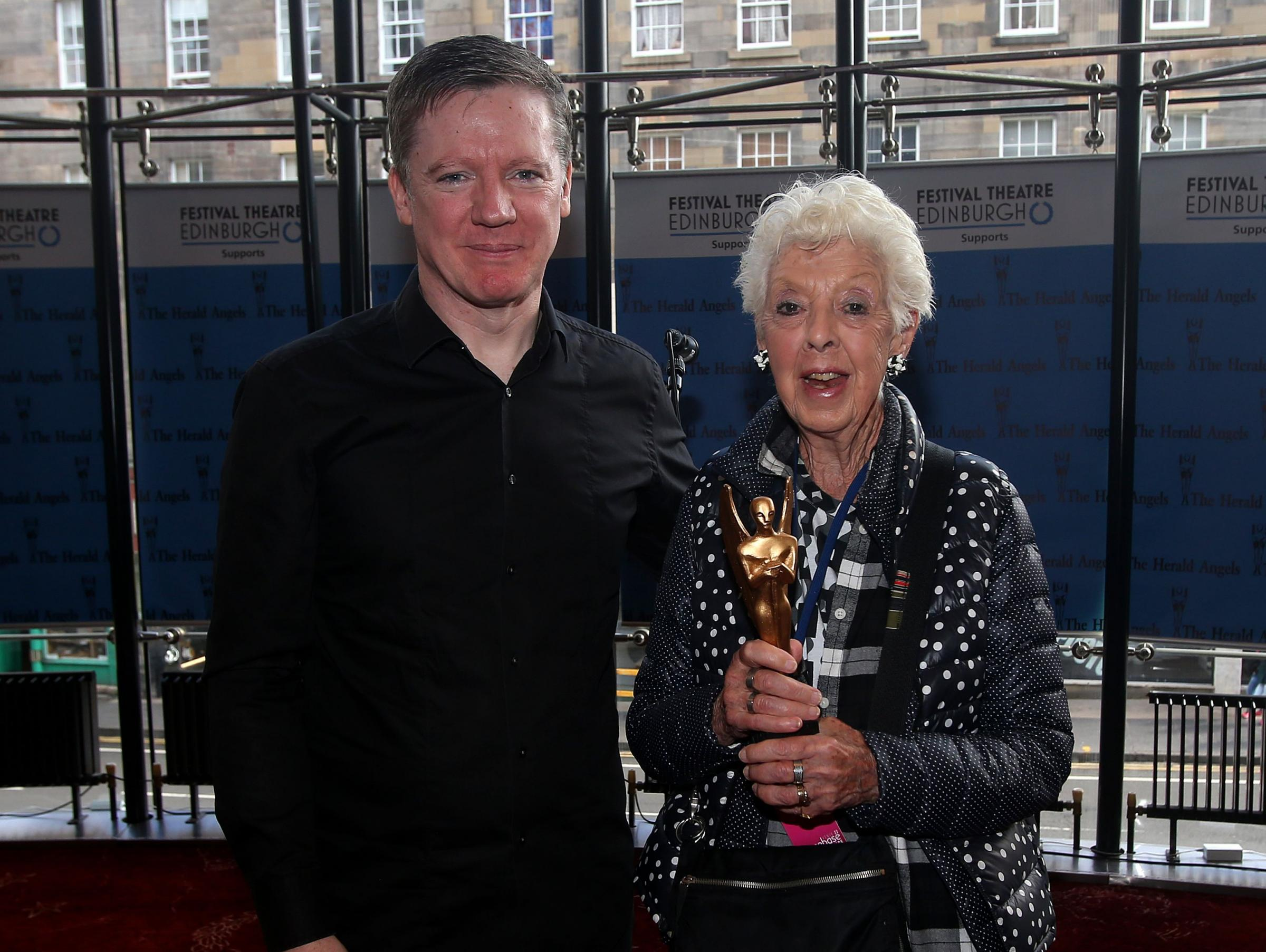 EIF director Fergus Linehan presents a Herald angel award to Valda Setterfield for Lear at Edinburgh Festival Theatre saturday.Pic Gordon Terris/The Herald26/8/17