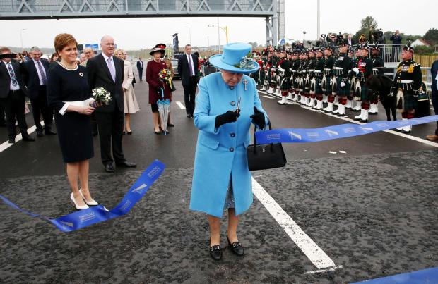 HeraldScotland: Queen Elizabeth II officially opens the Queensferry Crossing as the Duke of Edinburgh and First Minister Nicola Sturgeon look on, across the Firth of Forth. PRESS ASSOCIATION Photo. Picture date: Monday September 4, 2017. See PA story ROYAL Crossing. Phot