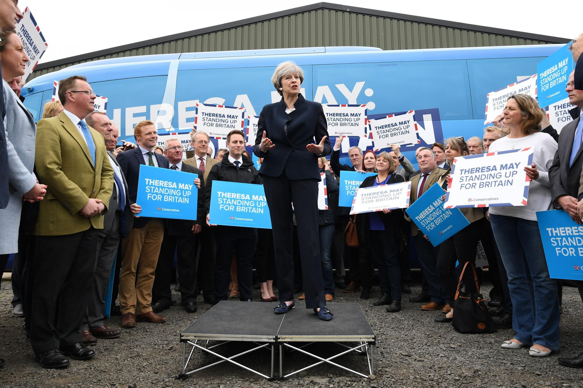 File photo dated 12/5/2017 of Conservative leader Theresa May at the launch of the party's general election campaign bus at Eshott airfield, Northumberland. May's ill-fated decision to call a snap election cost the taxpayer more than £140 million