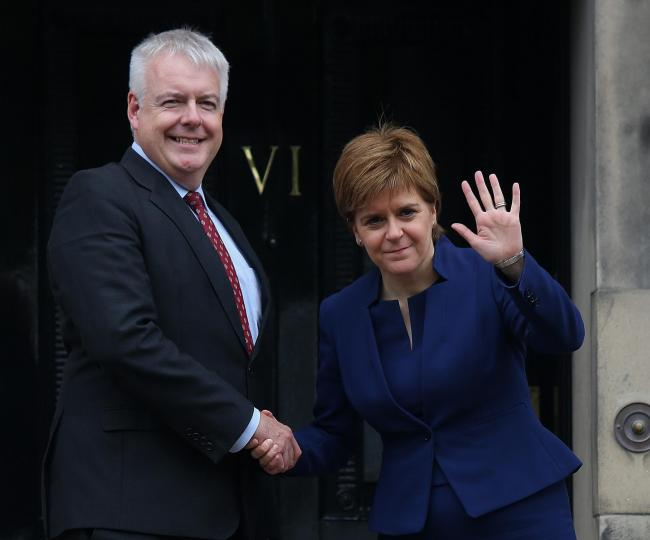 First Minister of Wales Carwyn Jones and Scottish First Minister Nicola Sturgeon at Bute House, August