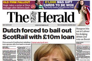 Today's front page of The Herald