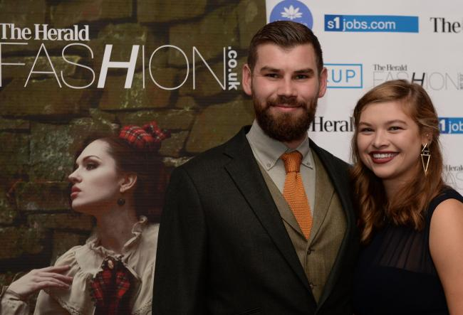 Double winners at the Herald Fashion Awards 2016 at the Grand Central Hotel, Online Accessory Retailer of the Year and Twitterati winner Trakke, Alec Farmer and Dakota Wilson.