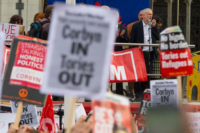 Labour leader Jeremy Corbyn addressing members of the Momentum campaign group. Picture: Dominic Lipinski/PA Wire
