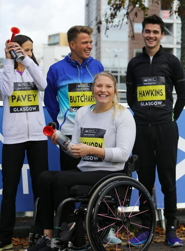 Bank of Scotland Great Scottish Run Schools Challenge at Glasgow Green. Elite athletes, from left-  Jo Pavey, Andrew Butchart, Sammi Kinghorn and Callum Hawkins..   Photograph by Colin Mearns.29 September 2017.