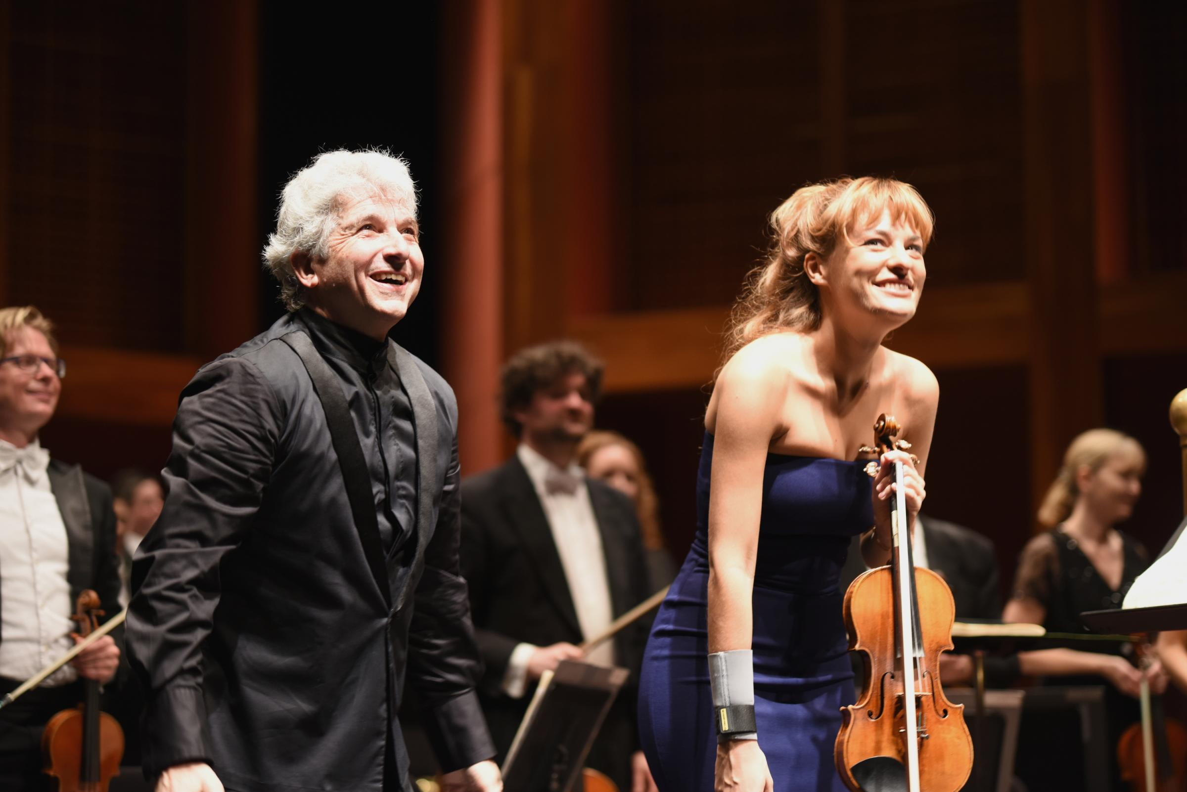 Peter Oundjian and Nicola Benedetti with RSNO at Broward Center, Fort Lauderdale, Florida. Picture: Daniel Pollitt