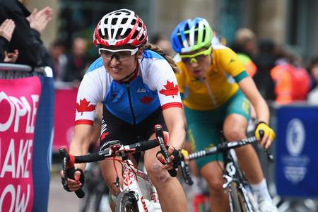 Leah Kirchmann of Canada rides through Nelson Mandela Place in the Women's Road Race during day eleven of the Glasgow 2014 Commonwealth Games on August 3, 2014 in Glasgow, Scotland