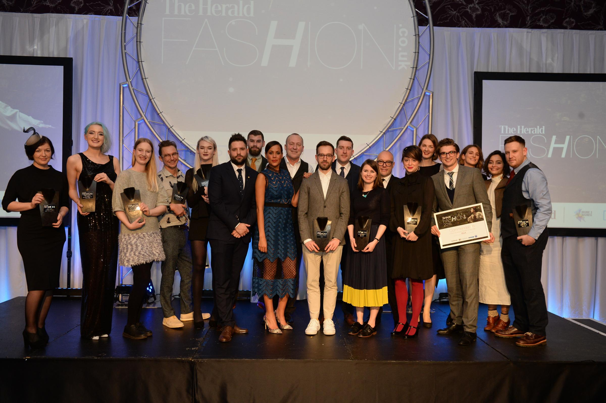 Winners on stage at last year's Herald Fashion Awards held at The Grand Central Hotel in Glasgow. Picture: Kirsty Anderson